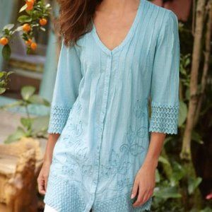 Soft Surroundings Grenada Gauze Lace Trim Tunic
